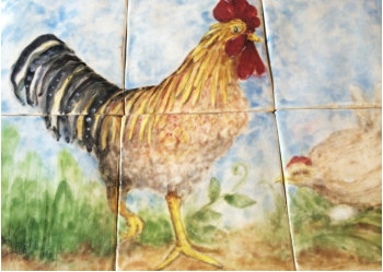 custom hand painted rooster and hen with egg