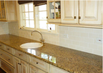 custom color mix glaze to work with cabinets and counter tops.